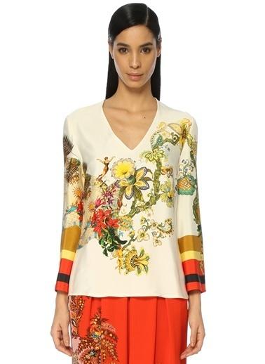 Etro V Yaka Çiçek Desenli Bluz Renkli